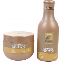 Kit Brown Hair 300ml - Shampoo e Máscara Tonalizante - Nutriflora Cosméticos